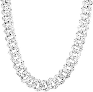 14K White Gold Sterling Silver Custom Bling 15mm Miami Cuban Choker Necklace