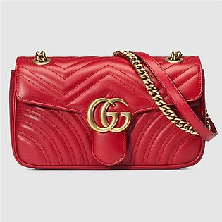 Gucci GG Marmont Red Leather Small Shoulder Bag