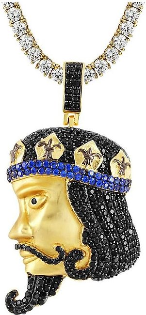 14k Gold Finish Men's King Face Playing Cards Silver Pendant