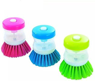 Kitchen Dish Brush With Liquid Soap Dispenser Pack of 2