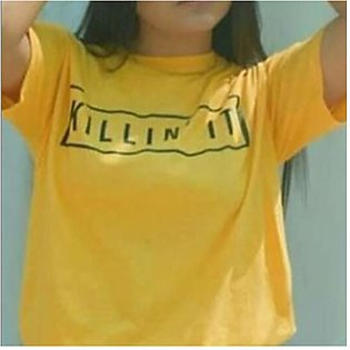 Killin' It Printed Half Sleeves T-Shirt Yellow By Emerce