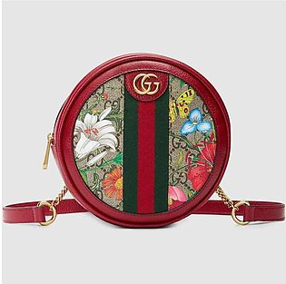 Gucci Ophidia Red/GG Supreme Flora Mini Backpack