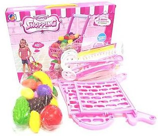 Funny Kids Shopping Cart with Acessories 42 pcs Set for Girls