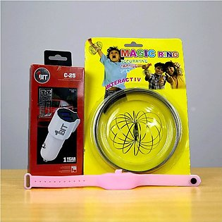 1Bit C-25 Car Charger+Sanitizers Band(Any Colour)+Free Magic Ring (Bundle Offer)