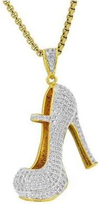 18K Yellow Gold High Heels Shoes Pendant Womens Pumps Simulated Diamonds