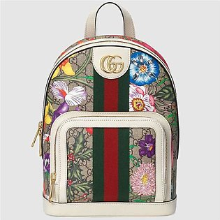 Gucci Ophidia White/GG Supreme Flora Small Backpack