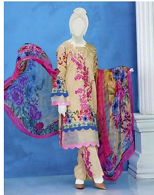 Summer Collection Unstitched Lawn Embroidered 3pc suit with chiffon dupata -613…