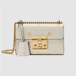 Gucci Padlock White Leather Bee Star Small Shoulder Bag