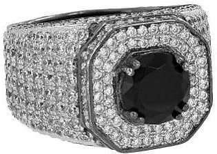 14K White Gold Solitaire Black Stone Ring Simulated Diamonds Custom Mens