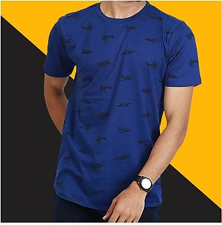 Blue Printed T-Shirt By RH