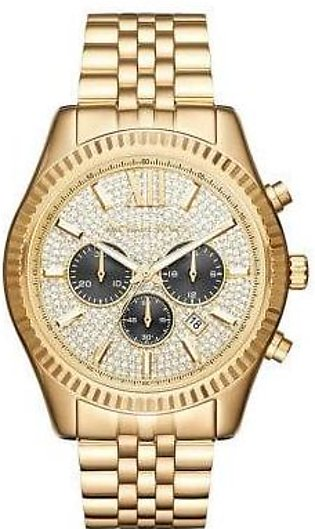 14K Gold Finish Michael Kors Chronograph Lexington Stainless Steel Watch For Wo…