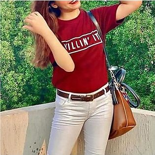 Killin' It Printed Half Sleeves T-Shirt Maroon By Emerce