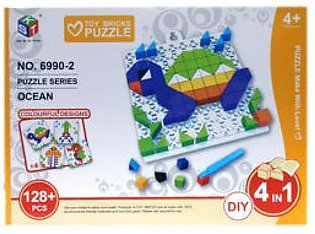 Mini Ocean Brick Puzzle 4 In 1 Toy Game 128 Pcs