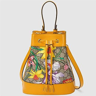 Gucci Ophidia Yellow/GG Supreme Flora Small Bucket Bag