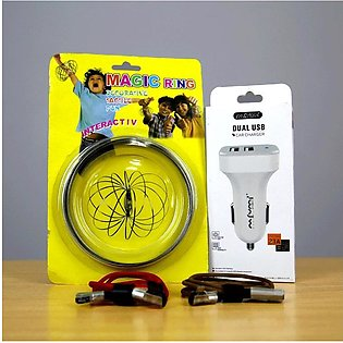 Dual USB Car Charger+Android Cable(Pack Of 2)+Free Magic Ring (Bundle Offer)