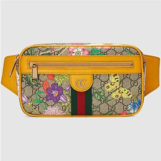 Gucci Ophidia yellow/GG Supreme Flora Belt Bag