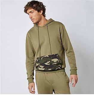 Trendyol Camo Kangaroo Pocket Hoodie Khaki for Men