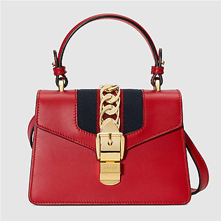Gucci Sylvie Hibiscus Red Leather Mini Bag