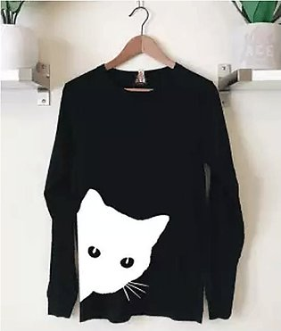 Ace - Black Cat Full Sleeves Cotton Printed T Shirt for Women