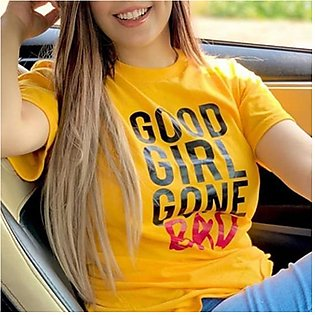 Good Girl Gone Bad Printed Half Sleeves T-Shirt Yellow By Emerce