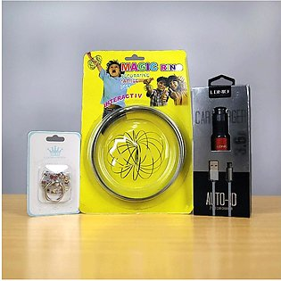 LDNIO C-303 3.6A USB Car Charger+Mobile Ring+Free Magic Ring (Bundle Offer)