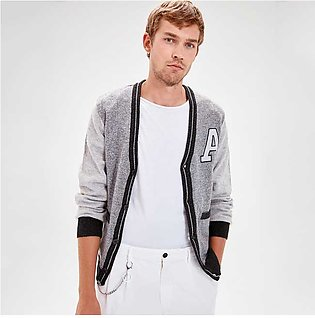Trendyol Letter A Print Cardigan Grey for Men