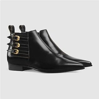 Gucci Women's Black Leather Ankle Boot Pointed Toe