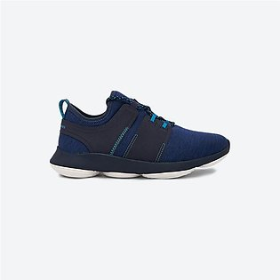 Hush Puppies Geo Lace Details Textured Round Toe Sneakers Navy