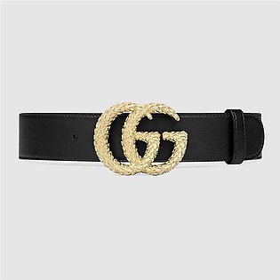 Gucci Black Belt With Textured Double G Buckle