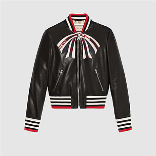 Gucci Black Leather Bomber Jacket With Gucci Bow