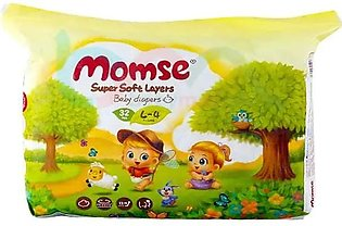 Momse Baby Diapers Size 4 (Large) 32 Pcs
