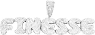 14k White Gold Finish Silver Finesse Bling Rapper Bubble Letters Solid Back P...