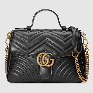 Gucci GG Black Leather Marmont Small Top Handle Bag