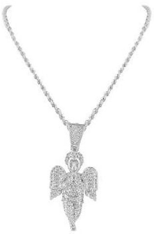 14K White Gold Baby Angel Lab Diamond Pendant & Steel Chain Necklace