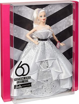 ?Barbie Collector: 60th Anniversary Doll, 11.5-Inch, Blonde, with Diamond-Inspi…
