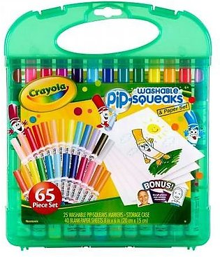 CRAYOLA WASHABLE 25 MARKERS 40 PAPER KIDS COLORING ART KIT