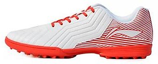 Li Ning Artificial Grass (ID) Football Shoes for Men-White & Red