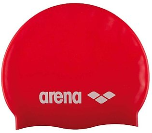 Arena Classic Silicone Swimming Cap-Red & White
