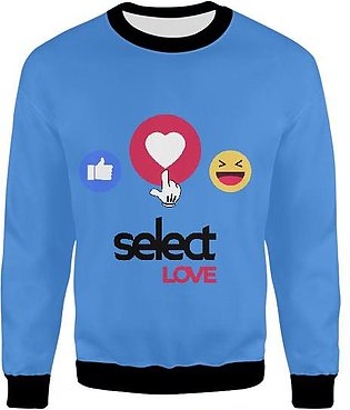 Select Love Emojis From Facebook Design For Tshirts In Blue Color UNISEX SWEA...