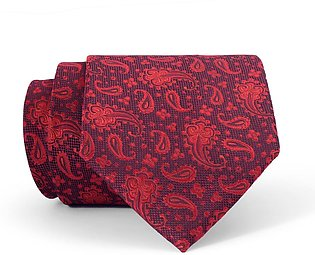 Crimson and Black Paisley Regular Tie