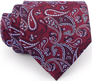 Multi Paisley On Crimson Regular Tie