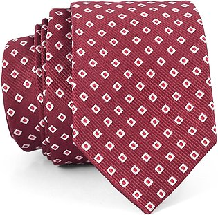 Crimson And White Square Pattern Slim Tie