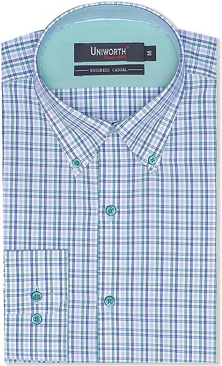 Check White/green Business Casual Fit Shirt