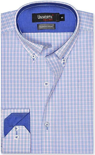 Check White/sky Business Casual Fit Shirt