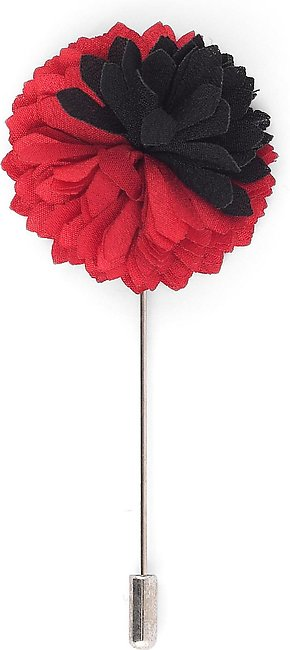 Red And Black Flower Lapel Pin