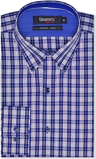 Check White/navy Business Casual Fit Shirt