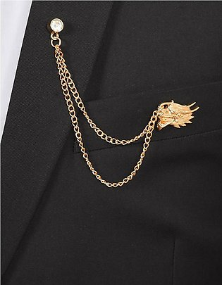 Dragon Face Gold Chain Brooch Lapel Pin