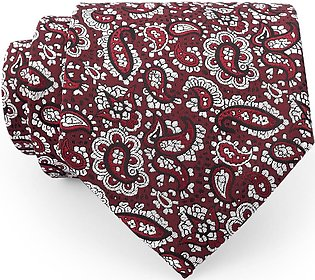 White Paisley On Crimson Design Regular Tie