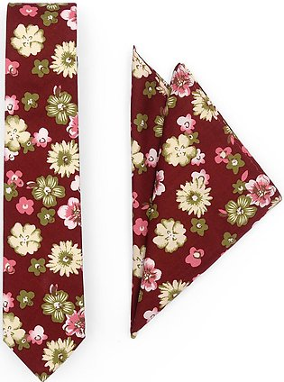 Tie And Pocket Square Crimson Floral Wedding Box