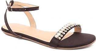 """Women """"MAY"""" Gold-Toned Studs Ankle Strap Sandals"""
